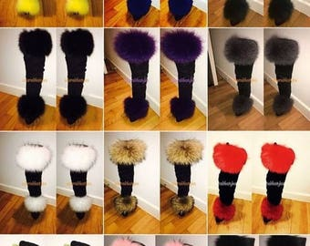 Faux fur over the knee Boots Fox