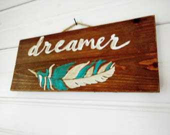 "Handpainted Wood ""Dreamer"" Wall Sign"