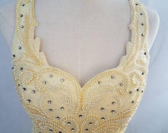 Vintage Beaded sequined Yellow Gown