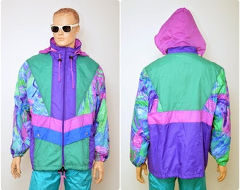 vintage RAIN JACKET by Shamp / retro 80s windbreaker unisex mens L / womens size XL / artistic