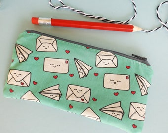 Happy Mail Pencil Case, Snail Mail, Kawaii Stationery, School Supplies, Happy Post, Pencil Pouch, Cosmetics Bag, Special Delivery, Air Mail