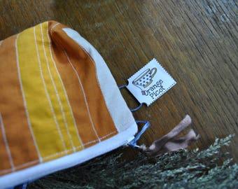 Pencil case / / School Kit / / stripes / / orange, white and pink