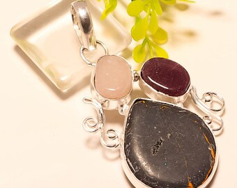 1 pc 925 Sterling Silver Black Copper Turquoise and Amethyst Charm Pendant, 2.26 inches, USA Seller