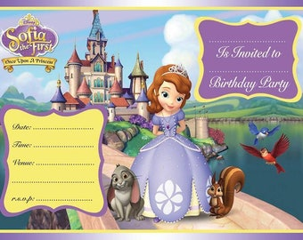 Sofia The First A6 Children's Birthday Party Invitations