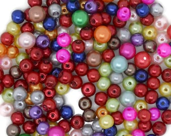 colorful mix glass beads, glass beads 6mm, mixed colors glass beads,
