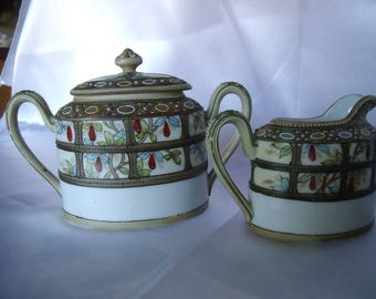 Cream and Sugar Bowl, Hand painted Nippon