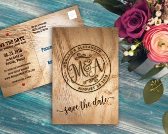 Save the Date Postcard with Custom Logo, Wood Burning, Branding Iron, Wedding Announcement, 6x4 printed postcards or printable file