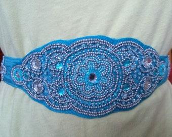 Blue satin hand sewn beaded belt