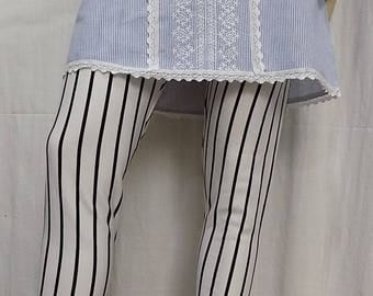 Fine knit cotton and spandex striped leggings