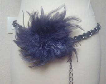 Metal chain and faux leather belt and buckle feather