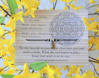 Buddha - Wish Bracelet- Birthday Gifts - Graduation Gift - Party Favors - Gift For Her - Yoga Bracelet - BoHo Jewelry - Buddha Bracelet