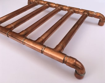 Copper trivet, counter top protector, copper pipe, rustic kitchen, industrial look, hot pan holder