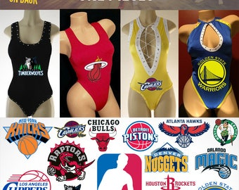 NBA one piece Exotic Dancewear for stripper or waistress or swimwear or dancer outfit one TEAM BASKETBALL designer competition