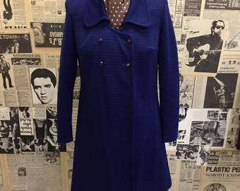 Vintage 1960s Dust Coat by Raybeck Blue Ribbed Double Breasted Buttons Long Sleeved Mod Approx UK Size 12 to 14 FREE WORLDWIDE Postage