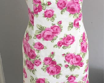 Vintage Rose Pattern Strapless Dress