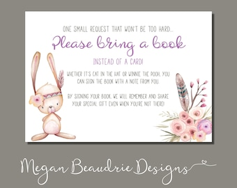 Baby Shower Book Request Card | Woodland Animal Girl