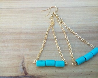 Turquoise golden plated earrings