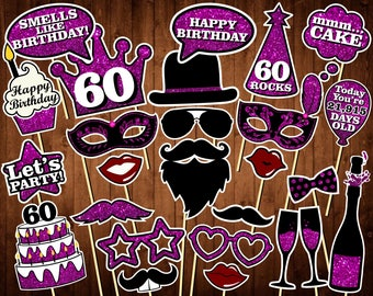 60th Birthday Photo Booth Props - Printable PDF - INSTANT DOWNLOAD - 60th Birthday Party Supplies - Purple Glitter Props