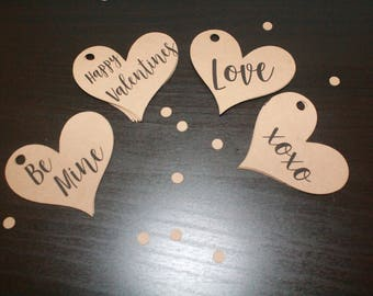 """45 Valentines Hearts Cut Outs Hanging tags Card Stock 2"""""""