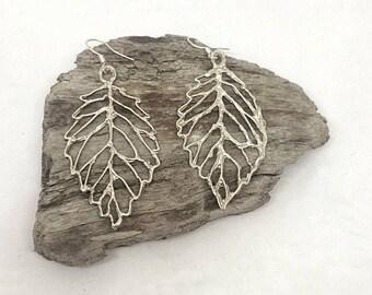 Fine silver leaf drop earrings for women Silver earrings for her Boho Jewelry Silver leaf earrings Silver jewellery gift for her