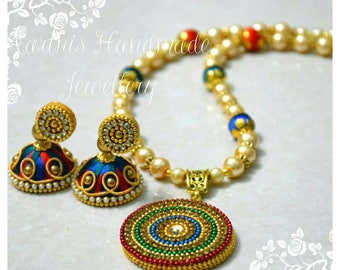 Blue and Orangle Silk Thread Jewellery Set