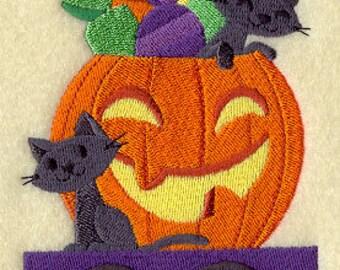 Trick-or-Treat Train - Cats in Pumpkin, Embroidered Halloween Dish Towel, Halloween Tea Towel, Halloween Decoration, Halloween Kitchen Towel