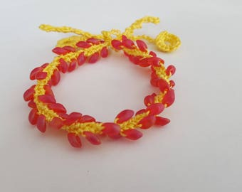Red and yellow bracelet crocheted with a Miyuki beads