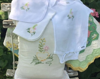Adorable Hand Embroidery of a Chickie Vintage Pattern Set of Pillow, Onesie, Burp Cloth and Bib