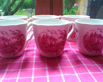 Pretty set of 6 coffee cups - French vintage Sarreguemines set