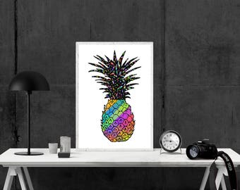 Colorful Pineapple Print, Home Decor, Hippie Art Print, Art Print, Summer Print, Floral Print, Supernatural, Pineapple Print Wall Art
