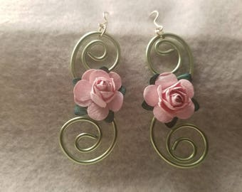 Lime Green Swirled Wire and Pink Paper Flower Accent Dangle Drop Earrings - The Bloom Collection
