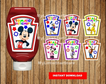 Mickey Mouse condiments bottle wrappers, Printable Mickey Mouse condiments Labels, Mickey Mouse party condiments labels Instant download