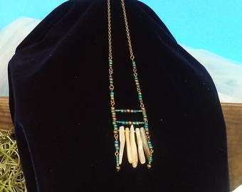 mother of pearl ocean ladder necklace