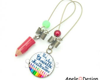 Teacher gift - pencil red green yellow rose cabochon earrings