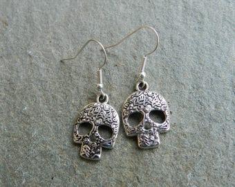 Candy Skull Earrings, Novelty Earrings, Goth Skull Earrings, Skull Jewellery