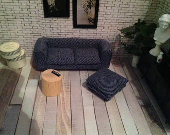 Modern couch with stool 1:12 for doll house/Doll Parlor-manual work!