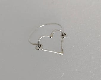 Sterling Silver Heart Halo Ring.