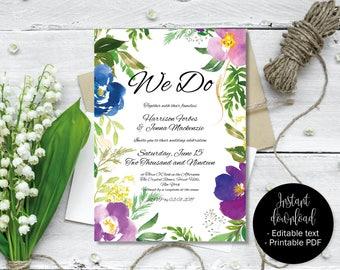 Floral Watercolor Editable PDF Wedding Invitation Template, DIY Printable Edit Wording, Wedding Invite, Boho, Bohemian, Border 5 INV-5