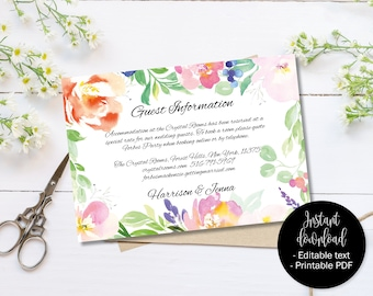 Wedding Guest Information Template, Editable Wedding Guest Information, Text Editable Template Printable, Watercolor Flower Border 4 INFO-4