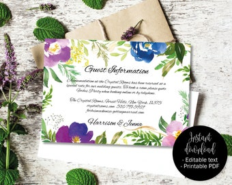 Wedding Guest Information Template, Editable Wedding Guest Information, Text Editable Template Printable, Watercolor Flower Border 5 INFO-5