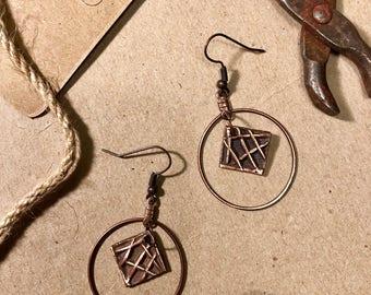 Handmade Solid Copper Earrings PMC