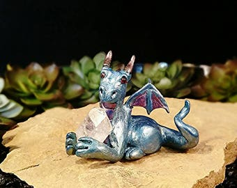 Polymer Clay Dragon * Polymer Clay Sculpture * Dragon Figurine * Dragon Statue * OOAK * One Of A Kind * Fantasy Art * Crystal Dragon