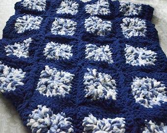 Bernat Blanket Granny Square Blue Baby Blanket