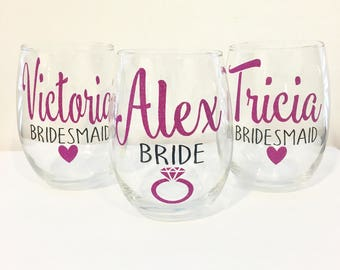 5 or 6 Bridal Party Wine Glasses | Personalized Bridesmaid Wine Glasses | Custom Wine Glass | Bridal Party Gifts | Bridesmaid Gift