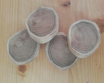 4 natural wooden rings - ref: Lot 5