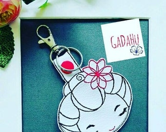 Cute Japanese Girl Key Fob Snap Tab Embroidery Design 4X4 size