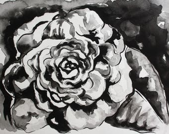 Black and White Abstract Wall Art, Print of Original Ink Painting, Flower Painting Wall Art in Black and White, Abstract Flower Ink Painting