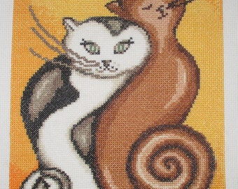 """Hand embroidered cross stitch PICTURE """"kittens""""-cross stitch"""