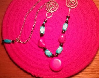 Coral and Turquise inspired Beaded Necklace