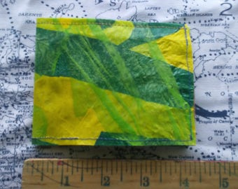 Tisket a Tasket Green and Yellow Upcycled Plastic Bag Wallet